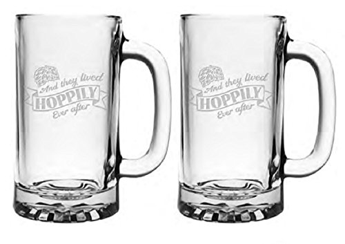 Hoppily-Ever-After-Set-of-2-Beer-Mugs-Steins-Weddings-Toasts-Anniversary-Gift