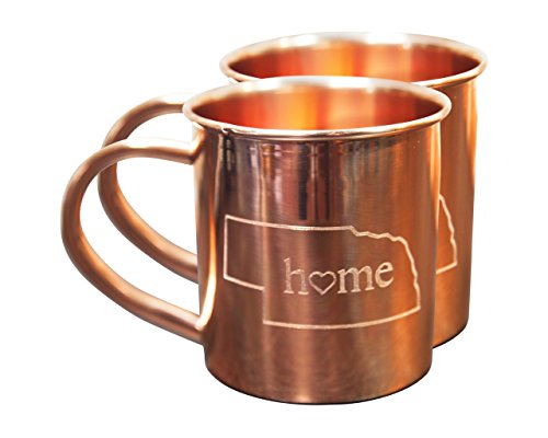 Home State Copper Mugs for Moscow Mules - Nebraska Mug - 100% Pure Copper Mug - Best For Moscow Mule Lovers - Set of 2 Copper Cups - 14 oz Size By Alchemade
