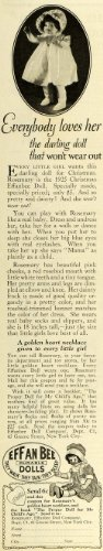 1925 Ad Effanbee Toy Dolls Christmas Gifts Rosemary Dolly Dress Girls Playtime - Original Print Ad