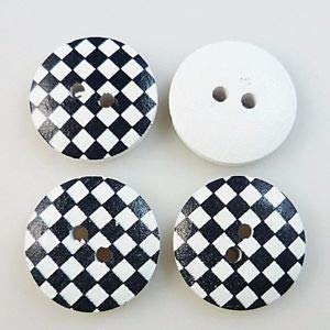 JumpingLight 10 B&W Checkerboard 2-Hole White Wood Buttons 11/16