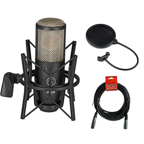 Pattern Diaphragm Condenser Large Microphone - AKG Project Studio P220 Large Diaphragm Condenser Microphone with Pop Filter and XLR to XLR Cable
