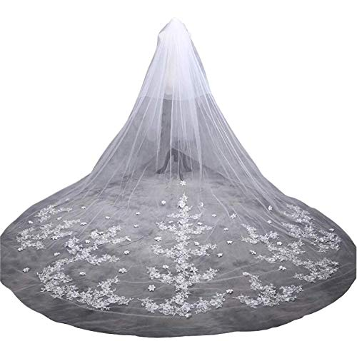 Musebridal 5M 2T Long Bridal Veil for Wedding Rhinestone Free Comb (Chantilly Lace Veils)