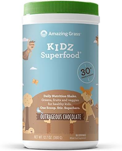 Amazing Grass, Kidz Superfood, Outrageous Chocolate, 60 Servings, 12.7 Oz, Greens, Fruits, Veggies, Probiotics, Organic Wheat Grass, Organic Carrot, Spinach, Broccoli, Vitamin