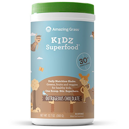 Amazing Grass, Organic Vegan Kids Superfood Powder with 30+ fruits & Super Greens, Flavor: Outrageous Chocolate, 60 Servings
