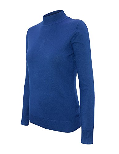 Cielo Women's Solid Basic Stretch Mock Neck Pullover Knit Sweater Cobalt Blue XL (Turtle Nylon Sweater)