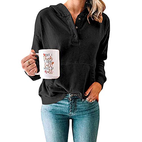 - ANJUNIE Women's Casual Sweatshirt Solid Shirts Long Sleeves Hooded Pullover Daily Tops(Black,XL)
