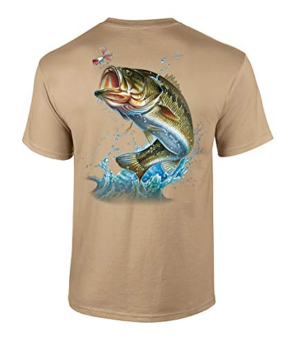 Fishing Action Bass Adult Short Sleeve T-Shirt-Tan-Medium