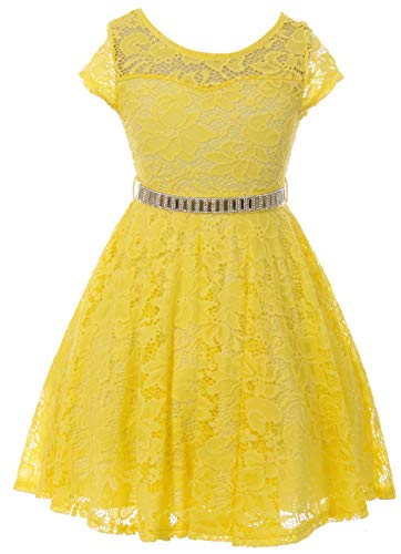 Big Girl Cap Sleeve Lace Skater Stone Belt Flower Girls Dresses (19JK88S) Yellow 12]()