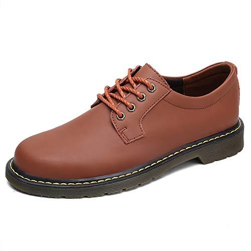 Simple Punta Ropa Sry Informal Formales Con Y Redondos Cuero zapatos Moda Para Marrón Oxford Trabajo De Gruesa Zapatos Hombres x4w4q6Art0