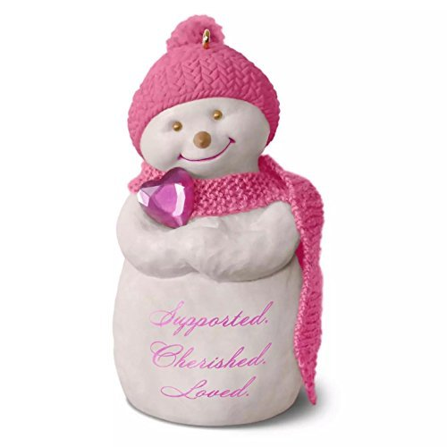 Hallmark Wrapped in Love Susan Komondor 2016 Snowman Christmas Ornament - Pink Snowman