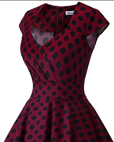 Rockabilly plisse Rtro Genou Vintage Robe Manches Burgundy au Femme Bbonlinedress Black Big sans Robe Cocktail de carr Dot col wq0Fx6X