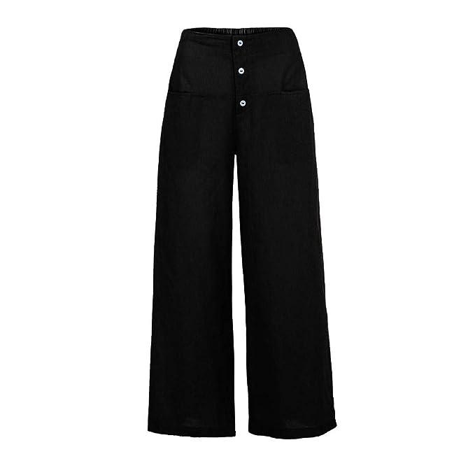 a7f0d568fac1 Sixcup Women s Casual Loose Plus Size Ruched Elastic Waist Cotton Trousers  Waistband Harem Pants Ladies Cotton