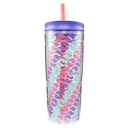 Bubba Envy Double Wall Insulated Straw Tumbler, 24 oz, Purple Circle Graphic by BUBBA BRANDS