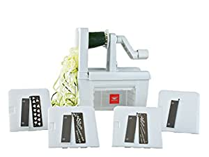 Paderno World Cuisine Folding Spiral Vegetable Slicer / Countertop-Mounted Plastic Spiralizer Pro incl. 4 Different Blades Made of Stainless Steel