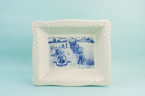 Stylish Vintage Serving DISH Pottery Landscape Dining Retro Blue And White Small Sandwich Late 20th Century English LS