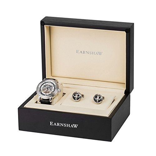 Thomas-Earnshaw-Longcase-Reloj-de-pulsera-automtico-con-caja-de-regalo-para-hombre-color-plata-negro