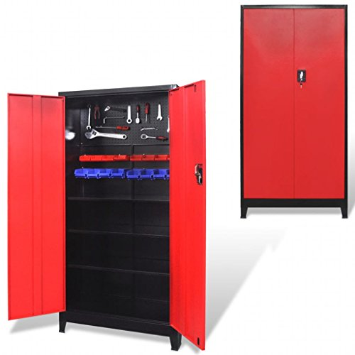 Tool Cabinet 2 Doors Steel with 3 Adjustable Shelves and 2 Racks,90 x 40 x 180 cm (L x W x H) Black and Red for Storing Tools