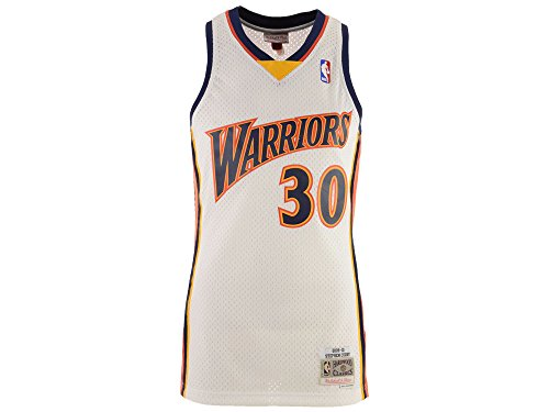 (Mitchell & Ness Stephen Curry Golden State Warriors NBA Throwback Jersey White (Small))