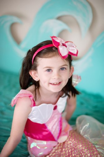Little Mermaid Costume Pink Dress (Creative Education Great Pretenders Pink Mermaid Dress & Headband, Pink, Size 5-6)