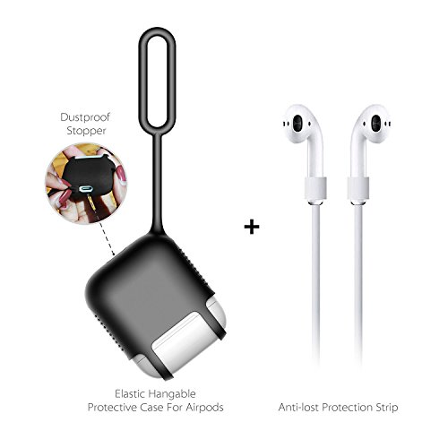 IUME AirPods Case Waterpoof Protective Silicone Cover And Skin With Anti-lost Silicone Fluorescent Keychain For Apple Airpods Charging Case Black