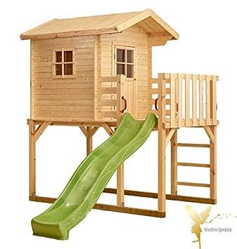Bekannt Woodinis-Spielplatz(R) Kinder-Spielhaus auf Stelzen, Holz, grüne KG04