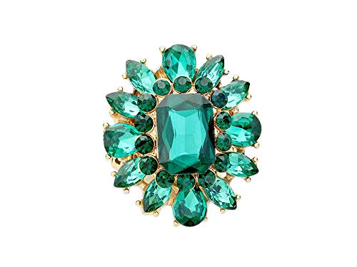 - Occasions Gift Giving Faceted Crystal Cluster Stretch Cocktail Ring (Emerald Green & Goldtone)