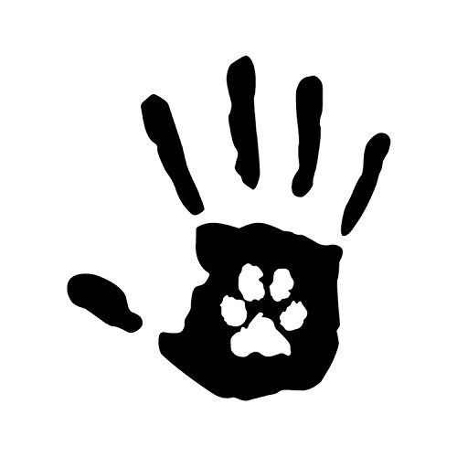 Hand Print w/Paw Print Black Vinyl Window SUV Auto Truck Decal Puppy Dog Lab Cat Pet Rescue Waterproof Bumper Sticker Size: 6.2