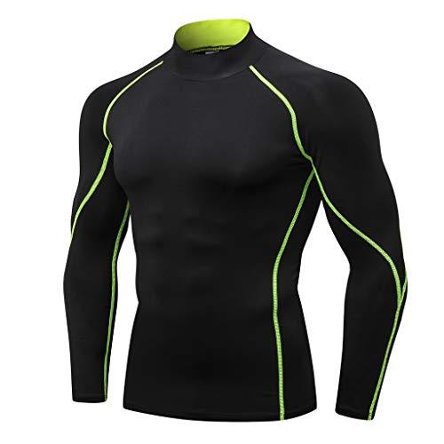 Hosamtel Men Long Sleeve T-Shirt Cool Dry Compression Athletic Shirt Mock Neck Sport Fitness Workout Running Tops (Brown Miami Jordan)