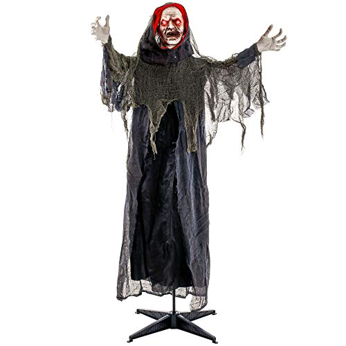 Halloween Decorations Animated Props (Halloween Haunters Life-Size Animated Standing Speaking Scary Reaper of Death Prop Decoration - Animatronic Motion Turning Head and Moving Arms, Evil Face, Red Light Up Eyes - Haunted House)