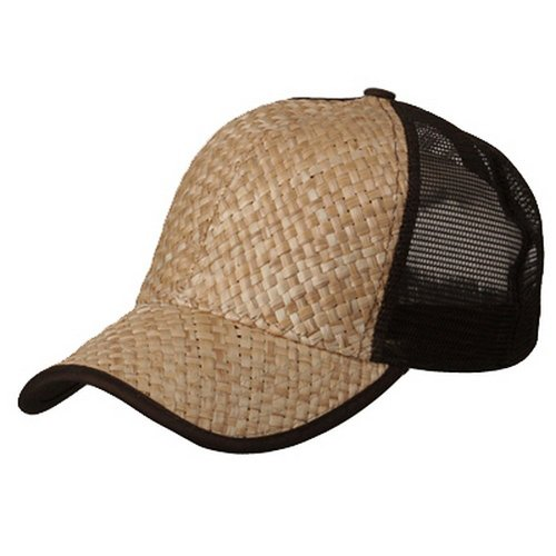Wholesale Trucker Caps (Wholesale Straw Mesh Trucker Caps (Natural/Brown) - 21829)