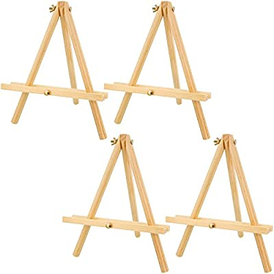 US Art Supply 12 inch Tall Tripod Easel Natural Pine Wood (Pack of 4 Easels) by US Art Supply