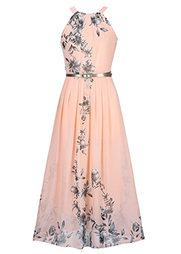 Women's Halter Chiffon Floral Print Long Summer Beach Maxi Dresses with Belt Pink XXL