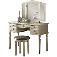 Pemberly Row Vanity Set with Stool in Silver