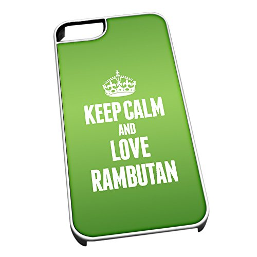 Bianco cover per iPhone 5/5S 1443 verde Keep Calm and Love Rambutan