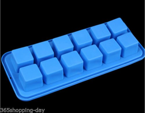 New ! 12 Square Ice Cube Mold Silicone Ice Tray Mold Maker