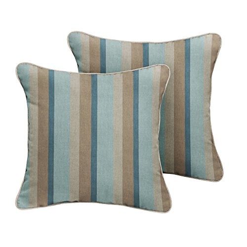 ella Indoor/ Outdoor Corded Pillows, Gateway Mist Stripe and Cast Silver, Set of 2 ()