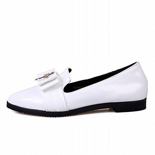 Carol Zapatos Para Mujer Bowknots Metal Cuff Cruzado En Punta De Elegancia Elegance Charm Fashion Flats Zapatos Blanco