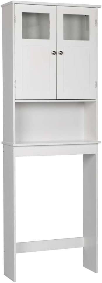 "FCH Bathroom Shelf Over Toilet Storage Space Saver Bathroom Cabinet Organization Wood Storage Cabinet White Finish 23 1/4""(L) x 8 11/16""(W) x 66 15/16""(H)"