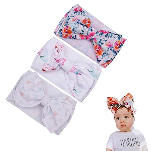 (3 Pcs Floral Print Baby Headbands Turban Knotted Headwrap Girl's Hairbands for Newborn)