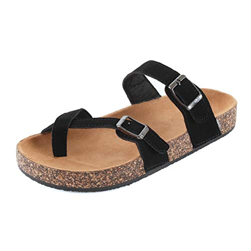 Guilty Shoes Womens Slippers Double Strap Easy Slip On Flip Flops Thong Casual Slides Sandals Flats (7 M US, Black Cross)