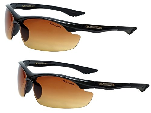 Xloop HD Vision High Definition Anti Glare Driving Lens Sunglasses Wrap Semi Rimless Sports Eyewear (2 Pack - Vision Sunglasses Hd