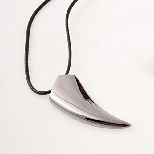 Fheaven Stainless Steel Wolf Tooth Necklace Pendant Necklaces Jewelry (Black)