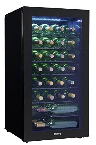 DWC032A2BDB Freestanding Wine Cooler with 36 Bottle Capacity, Adjustable Wine Racks, Single Zone, LED Light Danby
