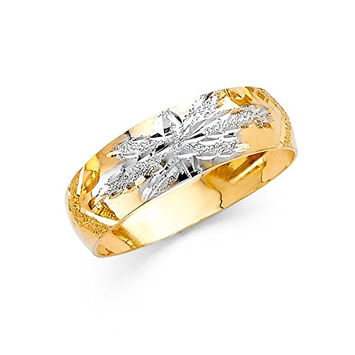 Ioka - 14K Two Tone Solid Gold 6mm Tapered Leaf Wedding Band - Size 6.5
