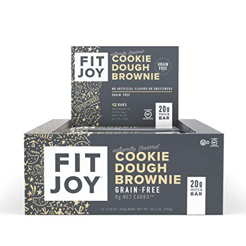 FitJoy Protein Bars, Gluten Free, Grain Free, High Protein Snacks - Low Sugar, Low Carb, 20g Protein Bar - Cookie Dough Brownie, 12 Pack of 2.11 oz. Bars (Packaging May Vary)