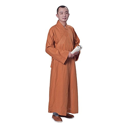 lin Temple Monk Robe Cotton Linen Long Robes Gown Kung Fu Uniforms Martial Arts Clothings for Men Women (Earth Yellow, 40) ()