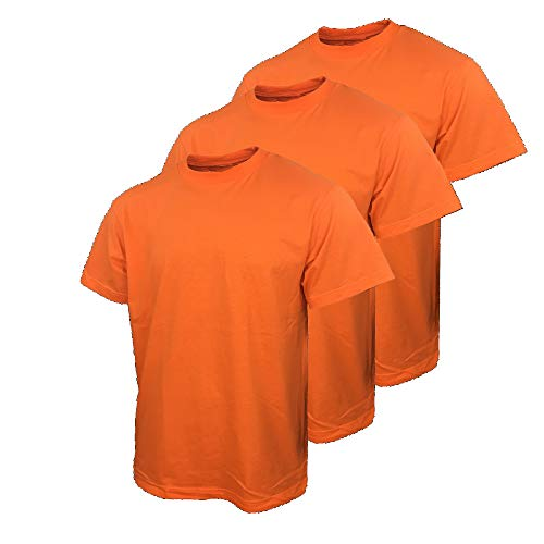 Safety T Shirts for Men with High Visibility Work Shirts (X-Large, Orange (3pack))