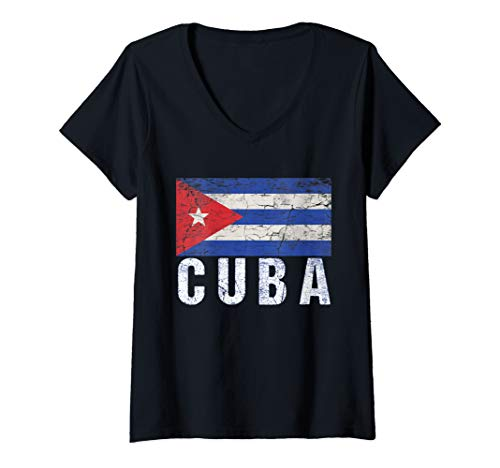 Womens Cuban Flag Shirt-Cuba Flag Gift V-Neck T-Shirt