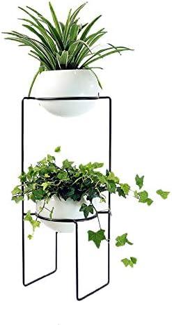 フラワースタンド デコレーションフラワーポット現代のミニマリストのクリエイティブマルチレイヤバルコニーリビングルーム 花台で庭など様々な場所 (Color : Black, Size : 34x34x71cm)