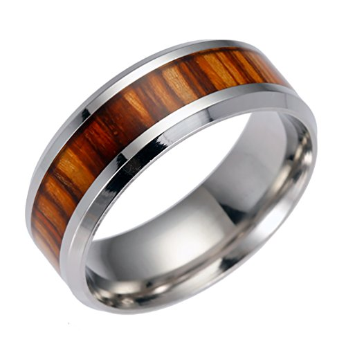 ENCOCO Men's Ring with Wood Inlay Men Engagement Ring Wedding Band Vintage Style Titanium Ring for Men, Sizes 6 to 13